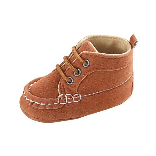 Koly Chico chica niño PU cuero suave suela zapatos de bebé (12, Rojo) Caqui