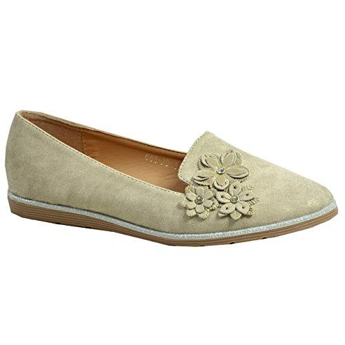 8 Flowers Cucu Sizes On Fashion Beige Ladies 3 UK Shoes Flats Front Pumps Slip Court Womens xf0qA6