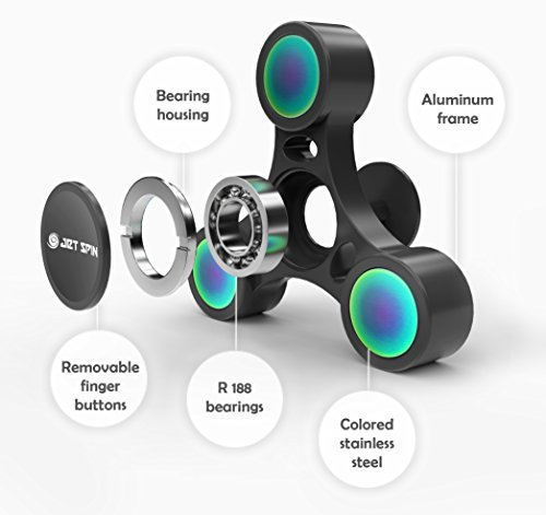 JetSpin Fidget Spinner - Best Hand Toy for Stress Relief, Anxiety, EDC - Metal Frame - Top Quality R188 Bearings with Long Smooth 3-5 Minutes Spin (Black)