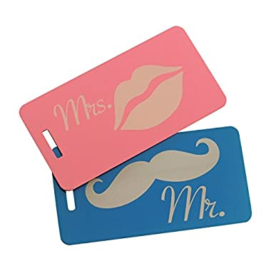 Mr & Mrs Luggage Tag Set of Two, Bag Tag for Newlyweds, Wedding Bag Tags (Blue/Pink)
