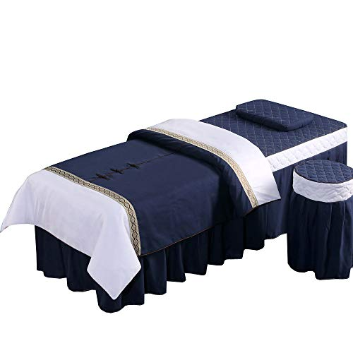 Massage Table Sheet Set with Face Rest Hole, Inside-fitted Table Skirt, pillow cover, stool cover, Spa Blanket, 4 pieces. Customizable Spa Table Sheet (Blue&White)