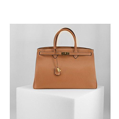 ROUVEN Chameau noisette brun Marrone & Gold ICONE CITY 40 Sac Tote fourre-tout sac en cuir dames Sac cartable noble chic et moderne minimaliste (40x28x19cm)