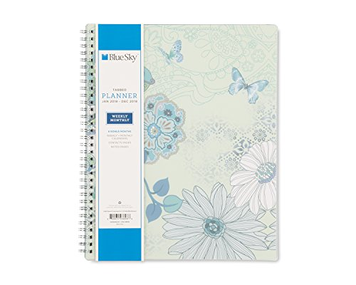 """Blue Sky 2018 Weekly & Monthly Planner, Twin-Wire Binding, 8.5"""" x 11"""", Lianne Aqua -  Blue Sky the Color of Imagination, LLC, 103693"""