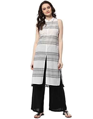 (Jaipur Kurti Women's Cotton White & Black Colour Kurta Palazzo Set)