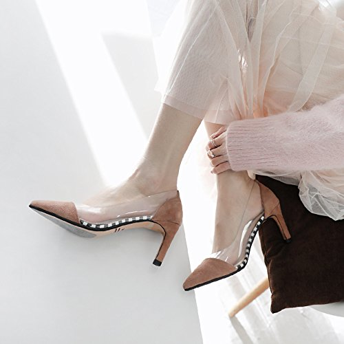 elegante Moda solo Sandalias Shoes 36 con high punta Liviano zapatos 38 Zapatos beige Heel mujer AJUNR tonos transparente Delgado Transpirable de 7cm pBwCqq5