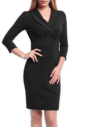 Ninedaily Women 3/4 Sleeve Lapel Neck Button Bodycon Wear to Work Pencil Dress Black Small