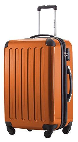 HAUPTSTADTKOFFER® Hartschalen Koffer · 3 Koffergrößen (42 Liter · 74 Liter · 119 Liter) · Hochglanz · Entweder mit Normalen oder TSA Zahlenschloss + DESIGN KOFFERANHÄNGER (SET, Orange)