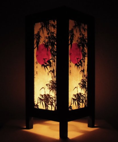 Thai Vintage Handmade ASIAN Oriental Handcraft Japanese Sunset Bamboo Tree Art Bedside Table Light or Floor Wood Lamp Home Bedroom Decor Modern(JP Sunset Bamboo 5CE)