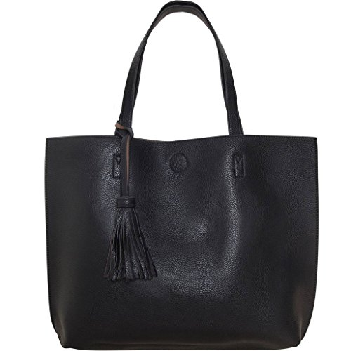 Humble Chic Large Vegan Leather Tote Bag Reversible Shoulder Handbag Tassel Purse, Black & Taupe Brown - Brown Chic Handbag
