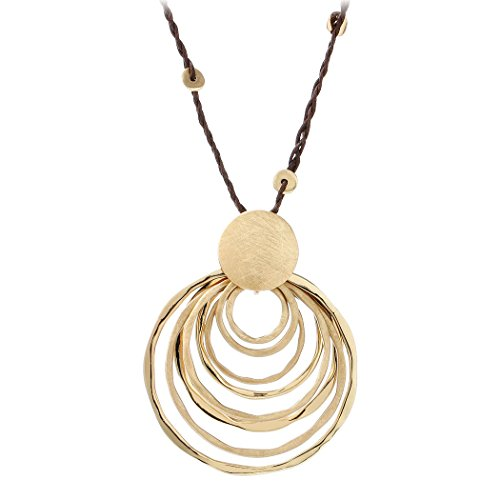 HONGYE Brushed Yellow Gold Multiple Circles Black Leather Chain Pendant Necklace