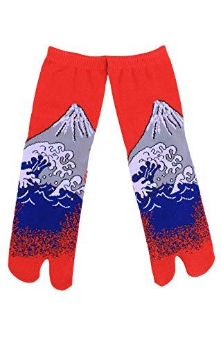 Mt. FUJI HOKUSAI TABI SOCKS Made in JAPAN (Mt. Fuji - Red) ()