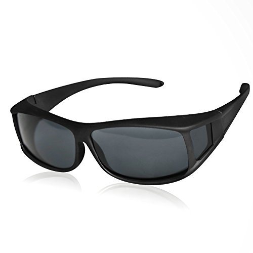 Solar Shield Fits over Glass Sunglasses for Driving Flying Boating Fishing and Snowing by Yonovo,Smoke