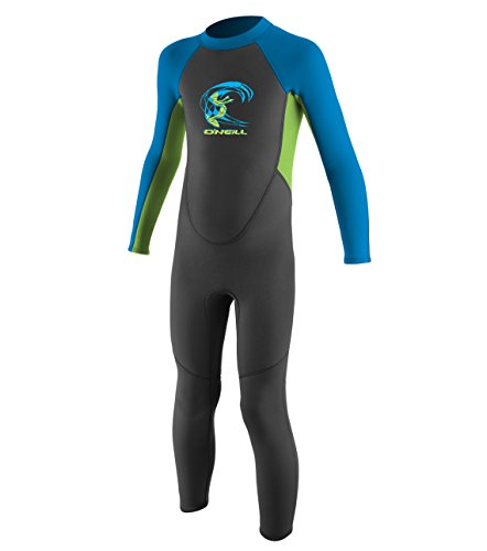(O'Neill Toddler Reactor-2 2mm Back Zip Full Wetsuit, Graphite/Dayglo/Blue, 3)