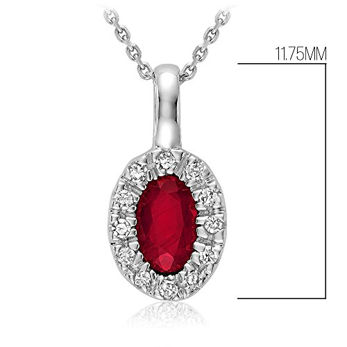 10K Gold Natural Diamond and Genuine Ruby Pendant (0.04TDW H-I Color,I1 Clarity) 18'' Cable Chain (ruby) by Jewels by Erika (Image #2)