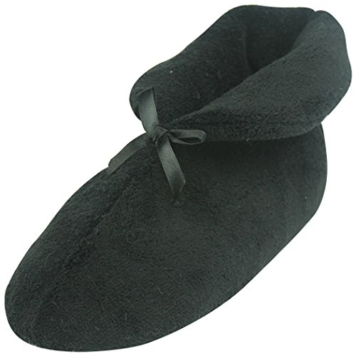 Home Slipper Women's Soft Coral Fleece Bootie Slippers Memory Foam Anti-Slip Indoor Warm House Shoes,Black,US 11 by Home Slipper