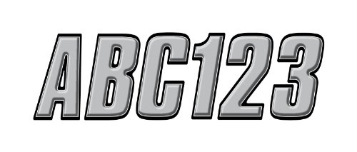Series Boat Decals (Hardline Products Series 800 Factory Matched 3-Inch Boat & PWC Registration Number Kit, Silver/Black)