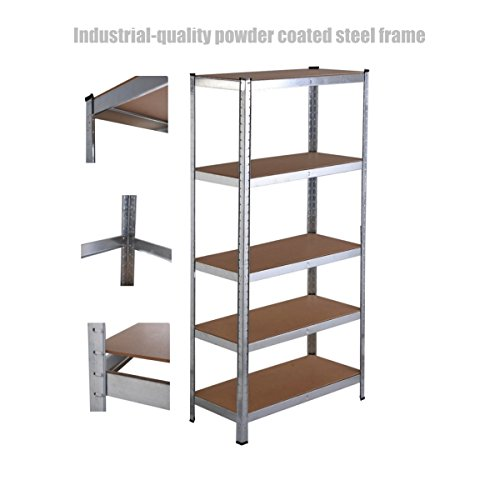 Officemax Plastic Paper (5 Tier Heavy Duty Shelf School Office Home Garage Solid Steel Metal Storage Rack Space-Saving Design Adjustable Height Shelves - 35.4