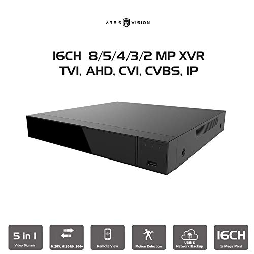 Ares Vision 16CH DVR Digital Video Recorder 2MP/3MP/4MP/5MP/8MP/4K Playback & Recording. Supports All AHD/TVI Signals NTSC or PAL. Advanced Features (HDD NOT Included) (16 CH)