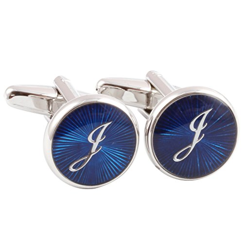 HJ Men's 2PCS Rhodium Plated Cufflinks Silver Initial Letter Shirt Wedding Business 1 Pair Set Blue J