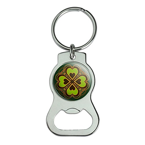 Graphics and More Four Leaf Clover Lucky Bottle Cap Opener Keychain Key Ring