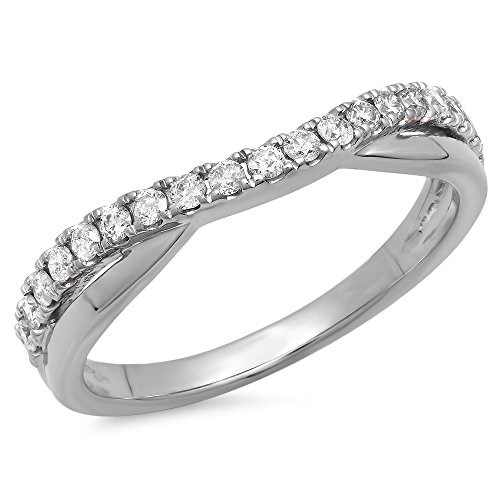 0.30 Carat (ctw) 18K Round Diamond Ladies Wedding Guard Contour Band 1/3 CT, White Gold, Size 6.5