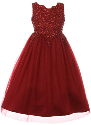 Big Girls Sparkle Pearl Sequin Tulle Pageant Gown Easter Prom Flower Girl Dress Burgundy 10 ()