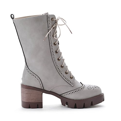 AgooLar Heels Closed Low Soft Round High Solid Toe Women's top Gray Material Boots xgrX8gq