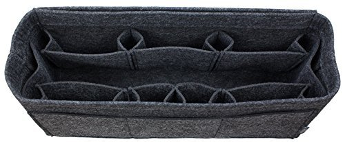 Pelikus Felt Purse & Tote Organizer Insert/Multi-Pocket Handbag Shaper (X-Large-Slender, Dark Grey)