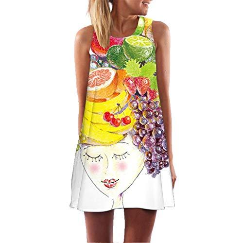 Women Vintage Boho Summer Sleeveless Beach Printed Short Mini Dress