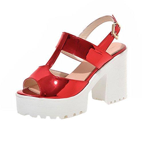 VogueZone009 Women High-Heels Blend Materials Solid Buckle Peep-Toe Sandals Red