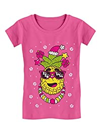 Hawaiian Pineapple Ugly Christmas Sweater Toddler/Kids Girls' Fitted T-Shirt
