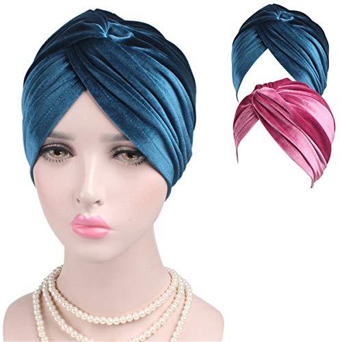 Indian Turban Hat Headband Cancer - Hair Muslim Rose Blue Aqua Teal Indian Black African Hijab Headbands Twisted Twist Bohemian Boho by Genovega