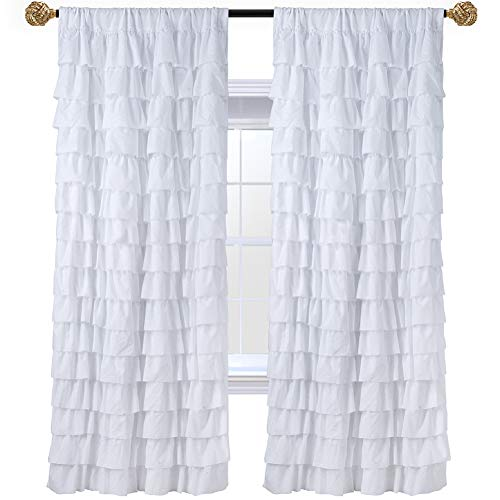 WestWeir White Ruffle Curtains - Set of 2 Panels, Set of 2 Panels for Living Room 42 inches x 84 inches (Ruffle Panel White)