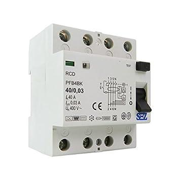 SEZ Fi-Schalter 40A 30mA 4P 10kA TYP B RCD/RCCB FI-Schutzschalter ...