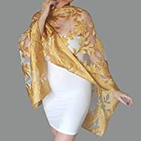 5af29ce4d01 Gold Wedding Stole Yellow Evening Wrap Summer Shawl By ZiiCi