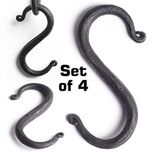 (S Hooks Wrought Iron Black for Hanging - Hand Forged Heavy Duty 1/2 Inch pipe - 4 Hooks!)