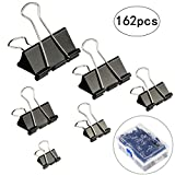 Binder Clips,LANMOK 162 PCS Black Binder Clamps for Paper Note Letter Office School Home Supplies Assorted 6 Sizes Clips with Plastic Storage Box