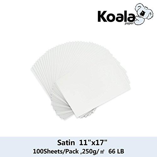 (Koala Photo Paper 100 Sheets 11''x17'' Satin RC Waterproof 250gsm for Inkjet Printer)