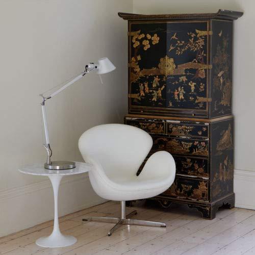 ElleDesign Mesa de café diseño Saarinen Tulip Piano mármol Blanco ...
