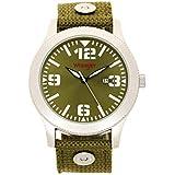 Wrangler Men's Watch, 48mm Silver Case, Green Face, Green Nylon Band, Second Hand (WRT2903-3B)