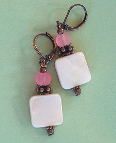- Pale Rose Mop Shell Pink Beach Glass Earring Copper Leverback Artisan Earrings For Women Set