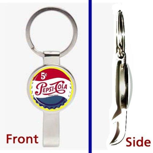 Vintage Retro Pepsi Cola Cap Pennant or Keychain Silver Tone Secret Bottle Opener