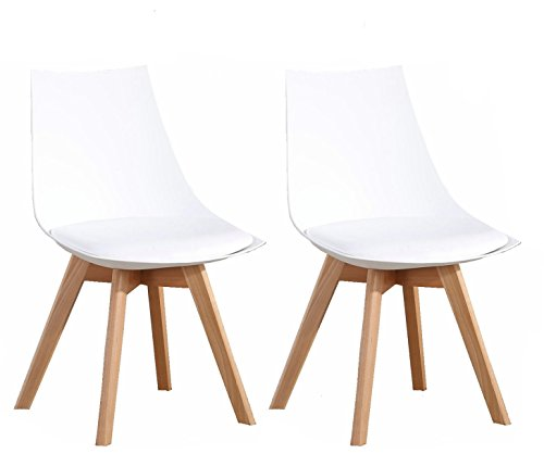 Set of 2 Modern Elegant Eames Style Dining Living room Plastic Chairs Set with Sturdy Wooden Leg by OYE HOYE Quick Easy Assembly-White