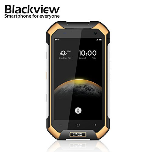Blackview BV6000 Unlocked Smart Phone, 4G Android 4.7 Inch IP68 MTK6755 Octa-Core Rui Frequency 3G RAM 32G ROM 13.0MP Screen Waterproof Mobile Phone (Yellow)