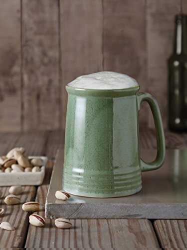 Handmade Ceramic Beer Tea Coffee Milk Mug Studio Pottery Green Cup Serveware with Handle
