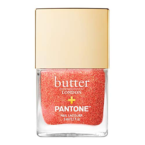 butter LONDON Living Coral Glazen Peel-Off Glitter Nail Lacquer, Living Coral (Best Butter Nail Polish Colors)