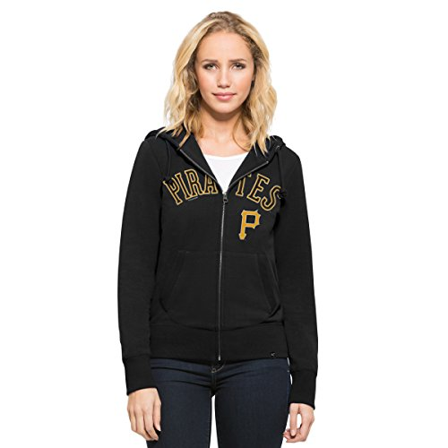 [MLB Pittsburgh Pirates Women's '47 Shimmer Cross-Check Full-Zip Hood, Small, Jet Black] (Pirate Coat For Sale)