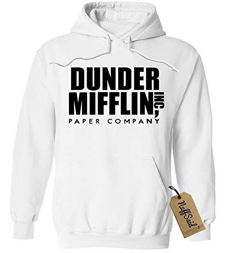 NuffSaid Dunder Mifflin Hooded Sweatshirt Sweater Hoodie - Premium Quality TV Shirt Sweatshirt (XLarge, White w/Black Ink)
