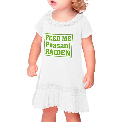 Cute Rascals Feed Me Peasant Raiden Taped Neck Toddler Short Sleeve Girl Ruffle Cotton Sunflower Dress - White, 18 Months