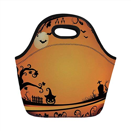 Portable Bento Lunch Bag,Vintage Halloween,Halloween Themed Image Eerie Atmosphere Gravestone Evil Pumpkin Moon Decorative,Orange Black,for Kids Adult Thermal Insulated Tote Bags -